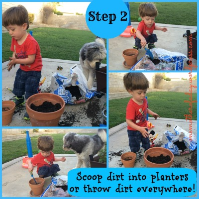 step 2 in gardening with a toddler
