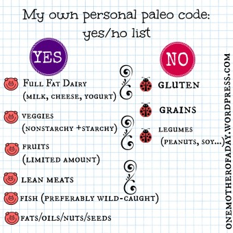 own personal paleo code yes and no list