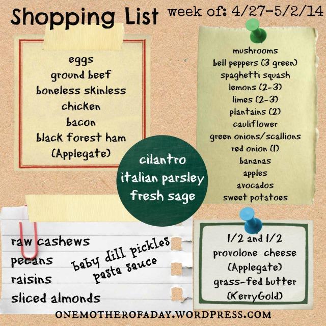 Sunday Food Prep week of 4/27-5/2/14