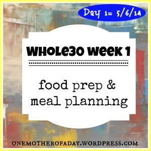 Whole30 week 1: food prep and meal planning