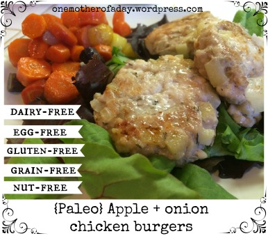 {Paleo} Apple + onion chicken burgers