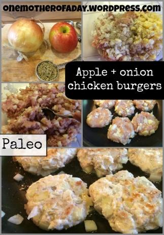 {Paleo} Apple + onion chicken burgers