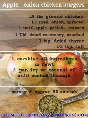 {Paleo} Apple & onion chicken burgers