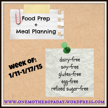 Food Prep and meal planning: 1/11-1/17/15